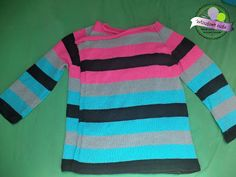 Pasiasty ogoniasty sweter na drutach  Knitted sweater with colorful stripes