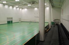 Its our sports hall. Use it for badminton, netball, football, basketball, table tennis or even indoor tennis and volleyball.