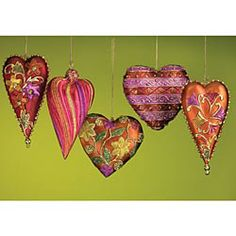 Christmas Ornament Sets, Handmade Ornaments, Heart Shaped Ornaments