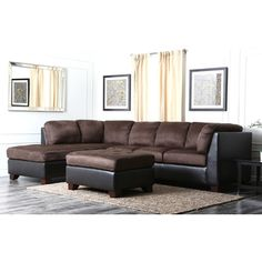 Abbyson Living Charlotte Dark Brown Sectional Sofa And Ottoman   Overstock™  Shopping   Big Discounts On Abbyson Living Sectional Sofas