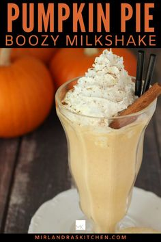 This boozy pumpkin pie milkshake tastes just like whirled up pumpkin pie with a hint of Captain Morgan Spiced Rum. Caution: it kicks like a mule!  Of course you can make some for the kiddos and just leave the rum out.  Gotta love an ice cream cocktail! #cocktail #icecream #rum #milkshake #pumpkinspice