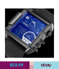Wristwatches Men Sports Watches 3 Time Zone Big Man Fashion Watch Leather Rectangle Wristwatc #ebay #Fashion
