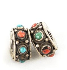 Antique Tibetan Coral and Turquoise Sterling Centerpiece Bead Pair