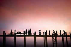 U Bein Bridge, the longest teak bridge in the world. Near Mandalay, Burma. Photo: David Lazar  #photography, #Myanmar, #travel