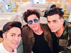 Varun Dhawan posts a cool selfie with SRK and Karan Johar while leaving for Dream Team tour! Celebrity Selfies, Mirrored Sunglasses, Mens Sunglasses, Alia And Varun, Sr K, Karan Johar, Varun Dhawan, Bollywood Actors, Shahrukh Khan