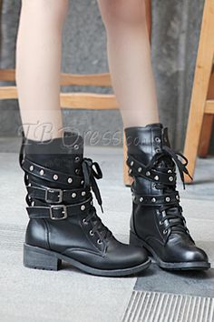 Lace-Up Rivet Buckle Low Heel Martin Boots