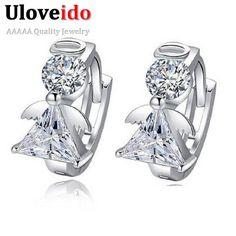 Angle Stud Earring Women Earings Fashion 925 Sterling Silver Crystal Earrings 2015 New Nickel Free Wholesale Jewelry Ulove DML51