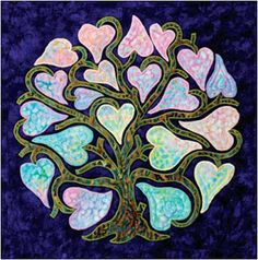 Free pattern day:  Hearts and Valentines 2014--Heart Tree applique pattern by Liz Jones from her book Flowers, Hearts and Garlands, free applique pattern at American Quilter