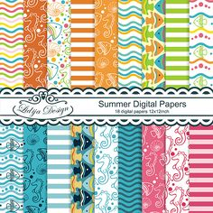 -Lovely set of 18 Digital Papers . Great for invitations, gift tags, cards, textile, package, scrapbooking, embellishments of invitations, papers guds, stationery, party decorations etc.