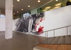 Rapt Studio x El Mac. Rapt Studio commissioned artist El Mac to do a large scale mural in the main atrium in Adobe's Lehi, Utah building. Th. Office Interior Design, Office Interiors, Tool Design, Design Process, Design Ideas, Lehi Utah, Adobe, Office Environment, Environmental Graphics