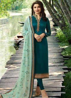 Riya Elegant Designer Embroidery Suits & Dress Materials `*TOP* :Satin Georgette + Embroidery ( Size - Up To 42 in ) *Inner* : Santoon:. Pakistani Dresses, Indian Dresses, Indian Outfits, Churidar Suits, Salwar Kameez, Anarkali Suits, Patiala, Punjabi Suits, Kaftan