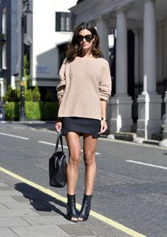 Street style Black skirt, tan sweater jumper & black leather boots heels