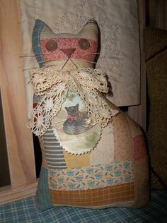 DIY Inspiration ~ cutter quilt Cat!    Prim Handmade Antique Cutter Quilt Cat with by Sweetrainprimitives, $ ...