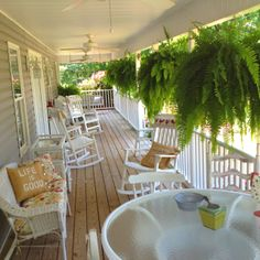 Love my porches 💖 Home Porch, House With Porch, Hanging Ferns, Architecture Design, Porch Veranda, Decks And Porches, Front Porches, Porch Furniture, Outdoor Living