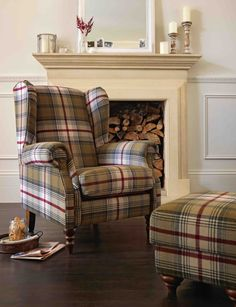 The Heart of House Argyll Fabric Chair in Autumn Tartan brings a touch of elegance and traditional style to your living room. Indian Living Rooms, Cozy Living Rooms, New Living Room, Living Room Chairs, Living Room Furniture, Home Furniture, Living Room Decor, Plaid Living Room, Furniture Chairs