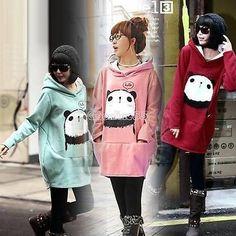 Fashion Lady Coat Korean Sweatshirt Fleece Hoodie Loose Panda Jacket Cute EA9