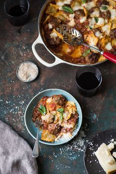 Meatball and spinach ravioli bake recipe #easy