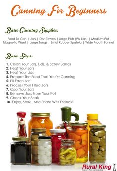Canning 101! Visit www.ruralking.com to check out our canning supplies!