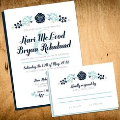 Floral Wedding Invitation by kxodesign on Etsy, $3.75