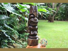 Love Tiki Totem 26 in Stained Hand Carved | Hawaiian Outdoor Decor