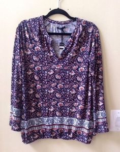 NWT MAX JEANS WOMEN'S MULTI-COLOR RAYON/SPANDEX LONG SLEEVE BLOUSE SIZE M #MAXJEANS #Blouse