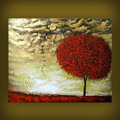 heavy texture thick paint tree painting bird abstract by mattsart, $169.00