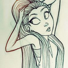 Aaaaand another haha can't wait to color these once I get my tablet back! #angiensca #myart #girl #sketch #doodle