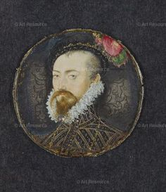 Hilliard, Nicholas (1547-1619) Miniature portrait of Robert Dudley, Earl of Leicester (c.1532-1588). A most handsome man, to be sure!