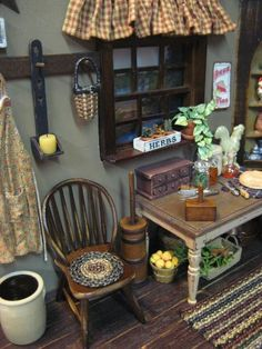 Oh, I had sworn off of country minis until I saw this!   I NEED that butter mold on the table. Wonderful! | dollhouse miniatures t | Mini Kitchen, Mi…