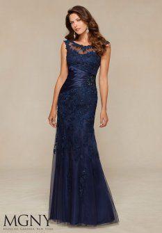 Beaded Lace Appliqued Long Charming Bateau Neckline Trumpt Mori Lee 71304 Evening Dresses