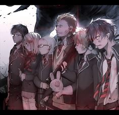 Blue Exorcist ~~ Ready to continue the battle :: Okumura Rin, Okumura Yukio, Ayatoki, Miwa Konekomaru, Suguro Ryuji