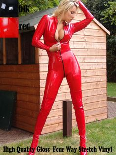 Lady Zipper Catsuit Red Sexy Faux Leather Erotic Gothic Lingerie Clubwear