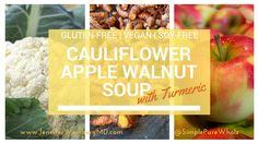 #Vegan #Cauliflower #Apple Walnut #Soup with Turmeric #healthyeating #health #healthy #glutenfree #dairyfree #fall #spice #vegetarian #veggie #recipe #healthyrecipe #glutenfreerecipe #veganrecipe #cook #eatclean #cleaneating #jerf #realfood #wholefood www.JenniferWeinbergMD.com