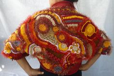 Watch my back shrug- freeform crochet and knitted shrug/bolero. $300.00, via Etsy.