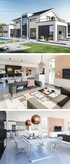 Modernes Satteldach Haus mit Büro Anbau & Galerie - Einfamilienhaus bauen Design Haus Concept-M 154 Bien Zenker Fertighaus - HausbauDirekt.de