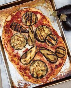 Eggplant Pan Pizza wiyh whole wheat flatbread crust