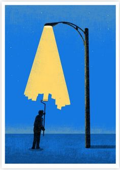 Self taught illustrator Tang Yau Hoong was born in (and is currently based in) Kuala Lumpur, Malaysia.  He loves to play with negative space and use illusions in his minimalistic illustrations.  Since 2007, he has been a freelance artist working with clients around the world.  He has created artwork for editorial and advertising purposes, t-shirts, posters, book covers, and more.  His illustration, shown below, is titled Light Painter.