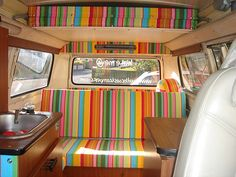 Camper Van Interior upholstered in Snooker stripes fabric