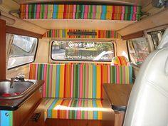 bed, camper van interiors, happy colors, campervan interior, caravan interiors