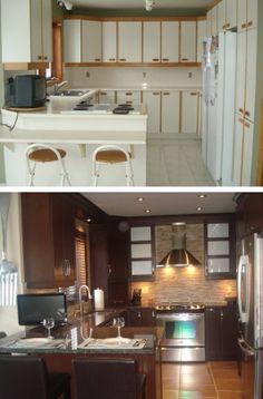 Découvrez ce remodelage de cuisine complète avant et après / Check out this complete kitchen remodel before & after.