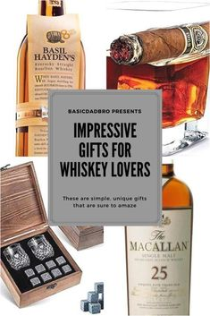 Do you have a whiskey lover in your life? Maybe your hubby or Dad enjoys an occasional glass of scotch! Check out this post for easy, fun gift ideas! Bourbon Gifts, Whiskey Gifts, Scotch Whiskey, Bourbon Whiskey, Whisky, Bourbon Drinks, Irish Whiskey, Scottish Gifts, Gifts For Husband