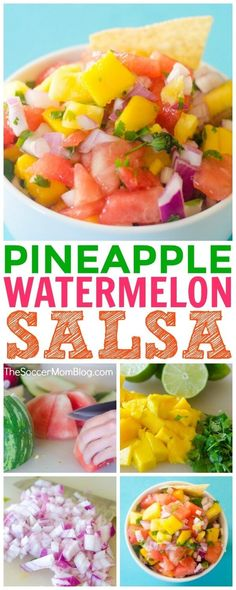 This simple, fresh Watermelon Salsa recipe adds a sweet and tangy kick to just about any meal, or of course you can serve as an appetizer with chips (try it with plantain chips!) It's easy to make, delicious, and so much healthier than other condiments! Watermelon Salsa, Fruit Salsa, Watermelon Recipes, Fruit Recipes, Appetizer Recipes, Mexican Food Recipes, Healthy Recipes, Ethnic Recipes, Pineapple Salsa