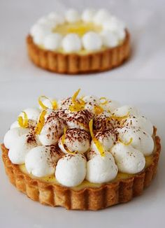 Bright Meyer Lemon Tart - Look at those adorable poofballs of meringue!
