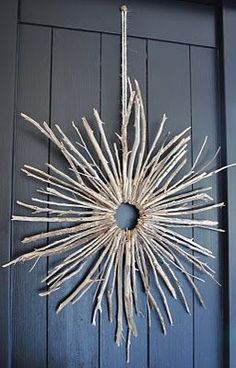 Starburst twig wreath, similar size twigs hot glued to a cardboard circle, imagine what a little color would do!