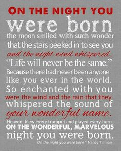 On the night you were born...