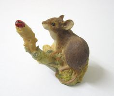 Vintage Aynsley Figurine Mouse with Ladybird by TheWhistlingMan, SOLD