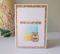 Woofing you a happy birthday dog birthday card by MaudieMaudie