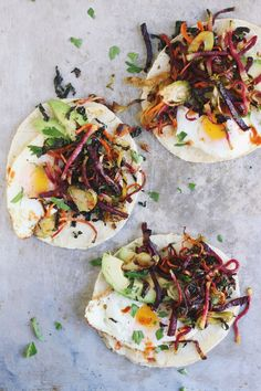 shredded harvest hash + fried egg breakfast tacos