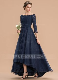 [US$ 139.00] A-Line Off-the-Shoulder Asymmetrical Organza Lace Bridesmaid Dress With Ruffle (007165842)