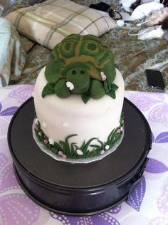 Tortoise Victoria sponge birthday cake